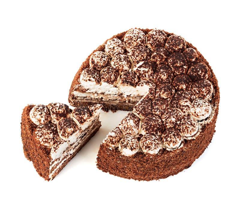 Close-up delicioso do bolo isolado em um fundo branco fotos de stock royalty free