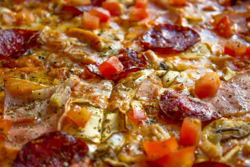 Close-up delicioso saboroso da pizza Molhar da boca fotografia de stock royalty free