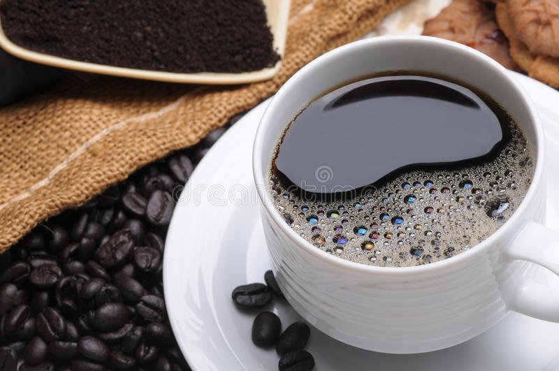 Close up of a delicious cup of coffee royalty free stock photos