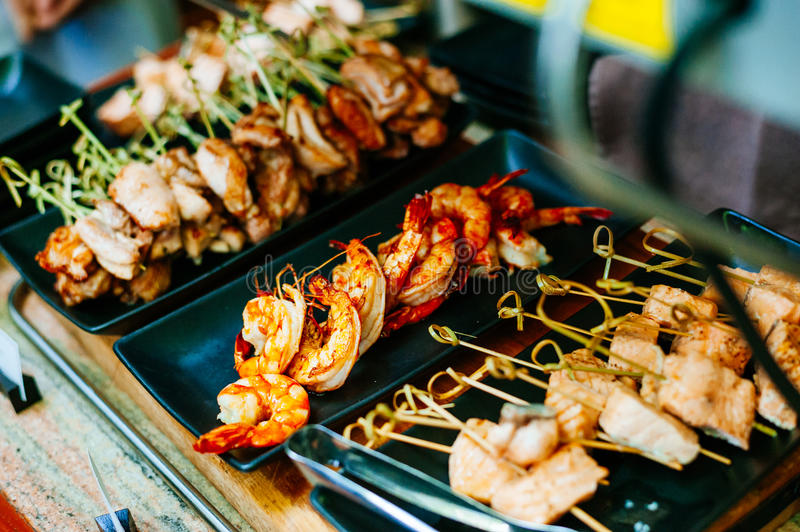 Close up of delicious grilled seafood platter stock image