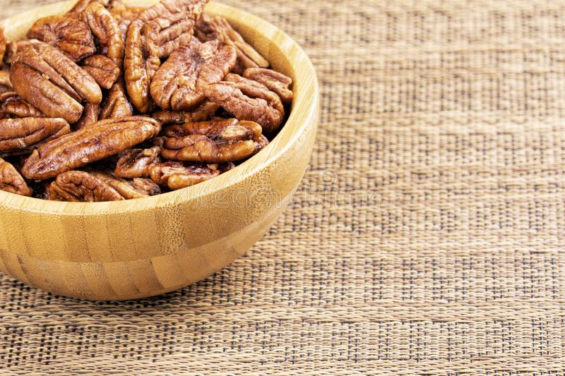 Close up of delicious pecan nuts, the perfect snack food stock photo