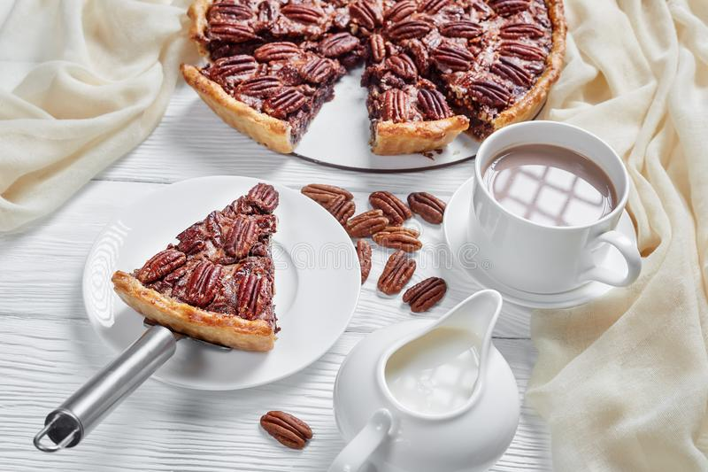 Close-up of delicious pecan pie, top view stock photography