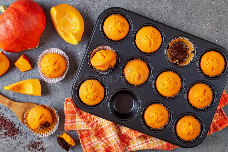 Close-up of tasty pumpkin chocolate muffins royalty free stock images