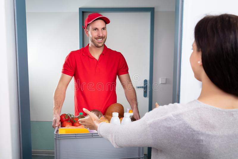 Delivery Man Giving Grocery Box To Woman royalty free stock photography