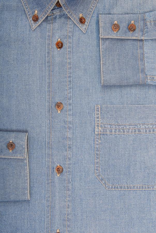 It is a close-up of denim shirt. stock image