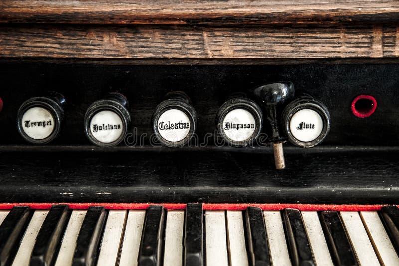 Close Up Detail of Church Organ stock image