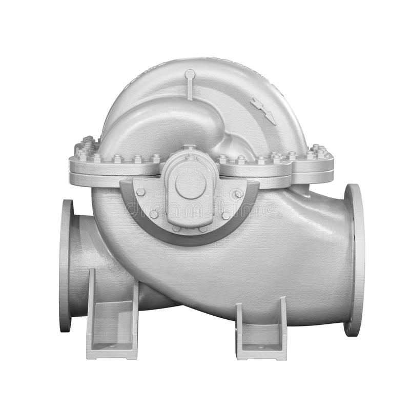 Close up detail cross section impeller inside of electric centrifugal pump or blower for industrial.  stock photography