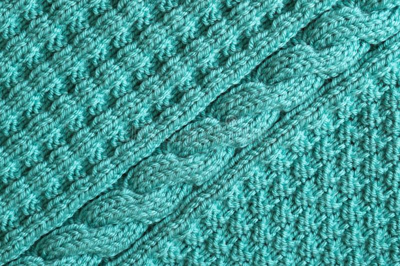 Abstract textured background of blue knitting stock image