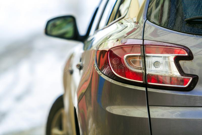 Close-up detail image of a car with side view mirror stock photography