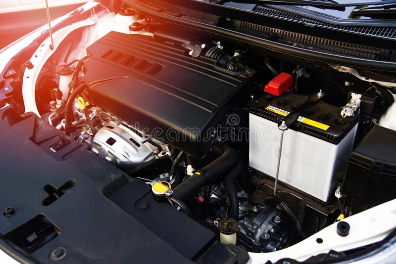 Detail of new engine car motor. Close up detail of new engine car motor stock images