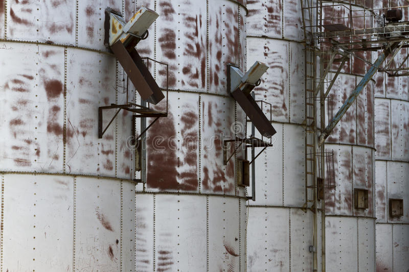 Close-Up Detail Of Old Grain Bins stock photography