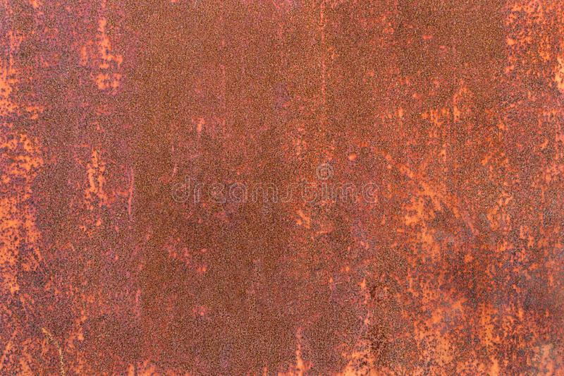 Close-up detail old iron sheet texture for background. Weathered metal with orange rust. stock images