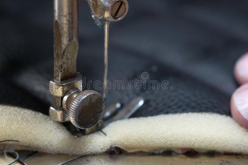 Close up Detail of old sewing machine with a low depth of field, traditional, autentic sewing stock images