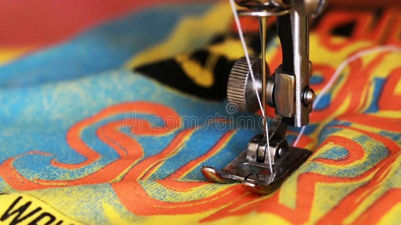Close-up detail of the sewing machine royalty free stock image