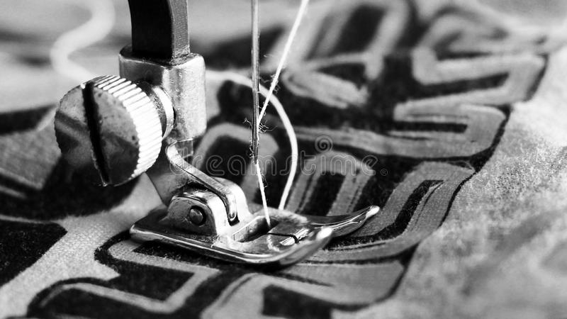 Close-up detail of the sewing machine stock images