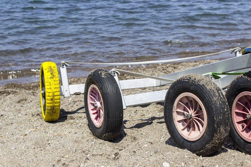 Close-up detail shot of small yacht sailboat wheels on beach at Lesvos, Petra royalty free stock images