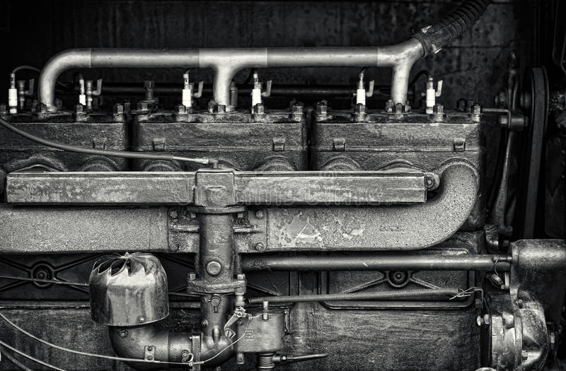 Close Up Detail of a Vintage Tractor Engine stock photos