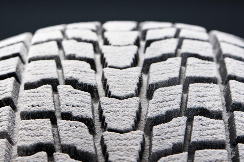 Close-up detail of winter tire snowed tread stock photos