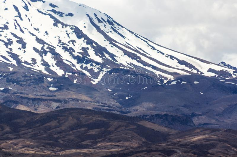 Close up detailed image of the snow covered peak of Mount Ruapehu royalty free stock photo