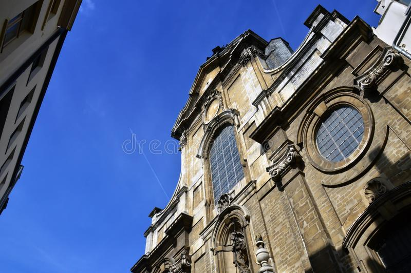 Close-up details on facade of the Church of Our Lady of Assistance Notre-Dame de Bon Secours, Brussels, Belgium royalty free stock image
