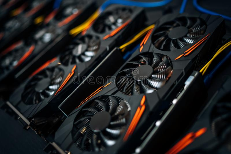 Close up details of graphics cards at cryptocurrencies mining rig. Modern technology stock photos