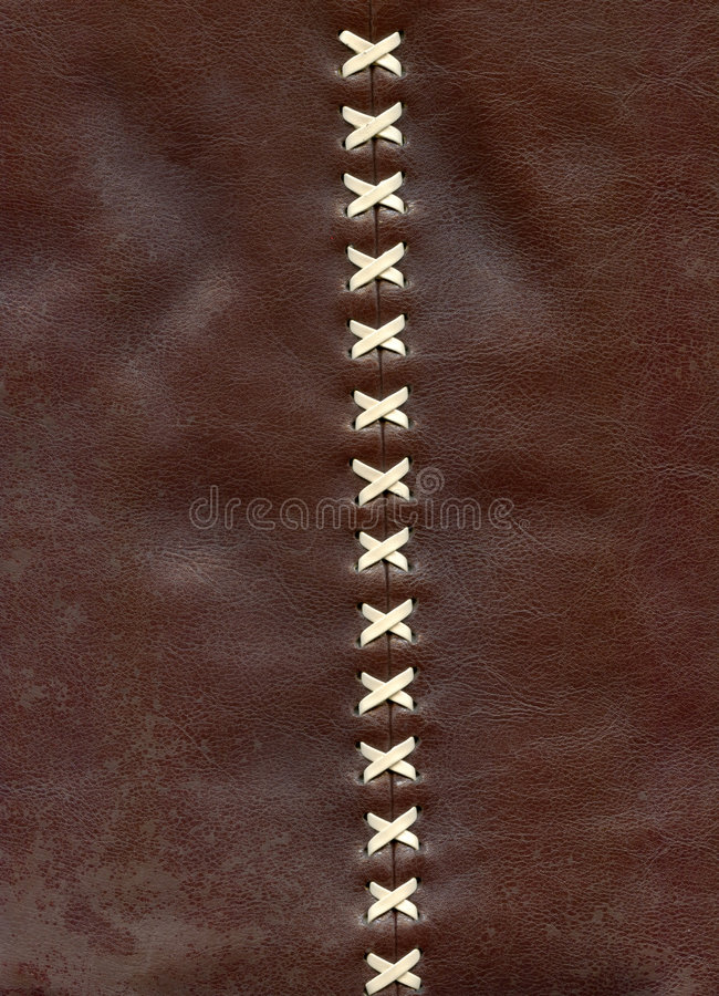 Close-up details of the lacing on brown leather royalty free stock photos