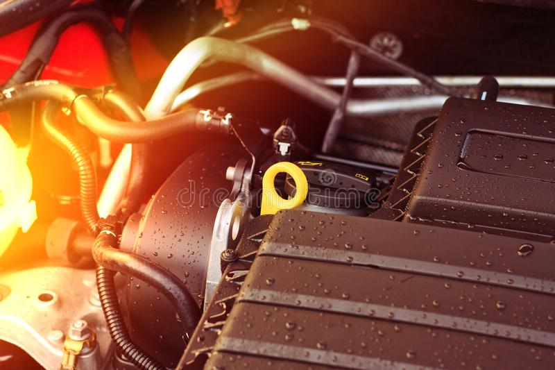 Close-up, details of the new car engine with light royalty free stock photography