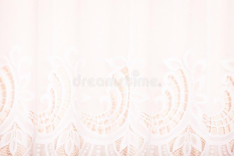 Close up detalhado da cortina branca com laço foto de stock