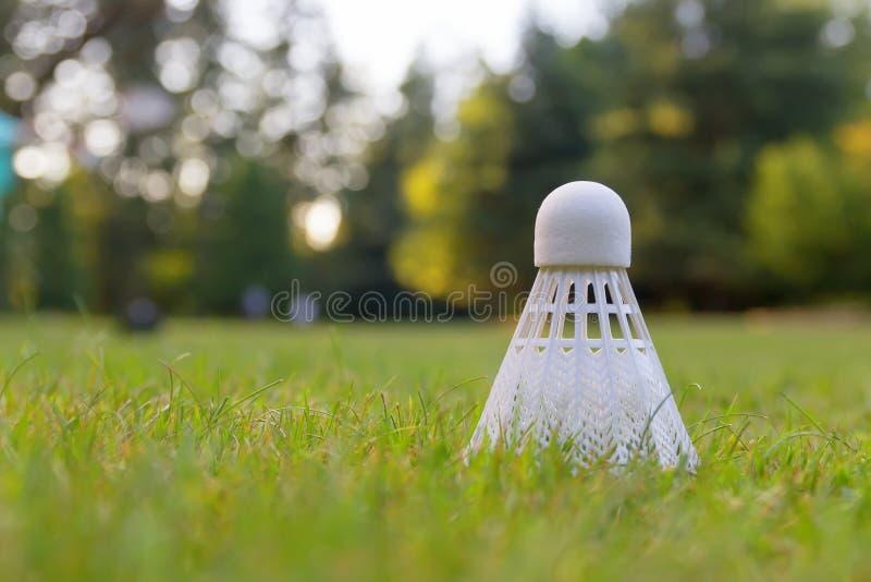 Close up detalhado de um badminton fotografia de stock