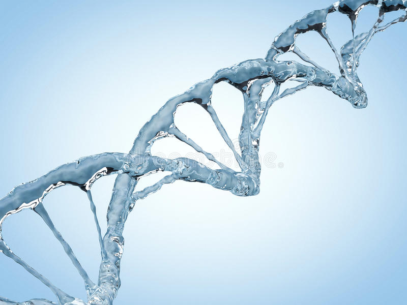 Close up of a diagonal DNA Chain of water. 3D. Rendering stock illustration