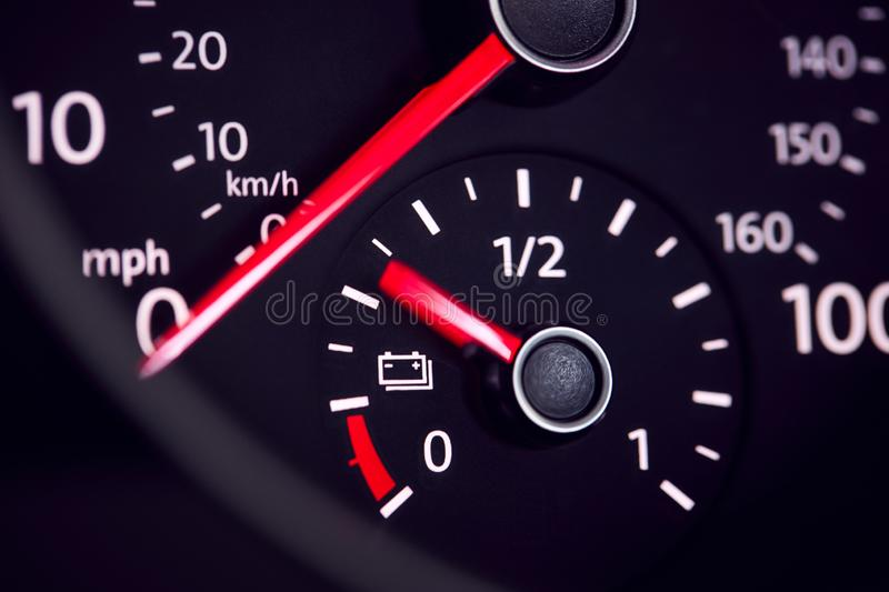 Close Up Of Dial Showing Charge Remaining In Electric Car Motor royalty free stock photos