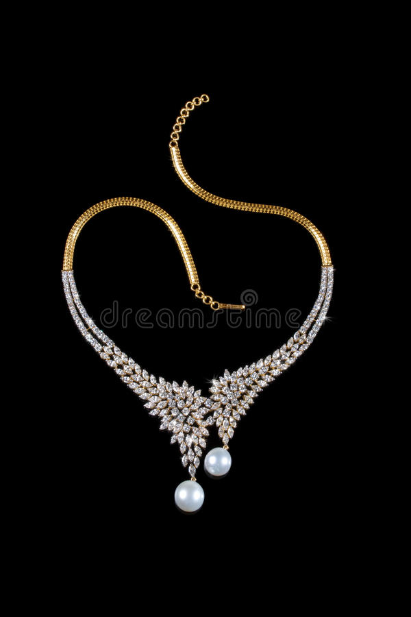 Close up of diamond necklace stock photo