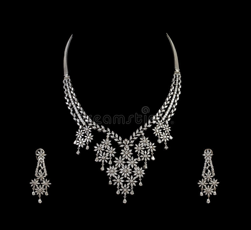 Download Close Up Of Diamond Necklace With Diamond Ear Ring Stock Image - Image: 20830377