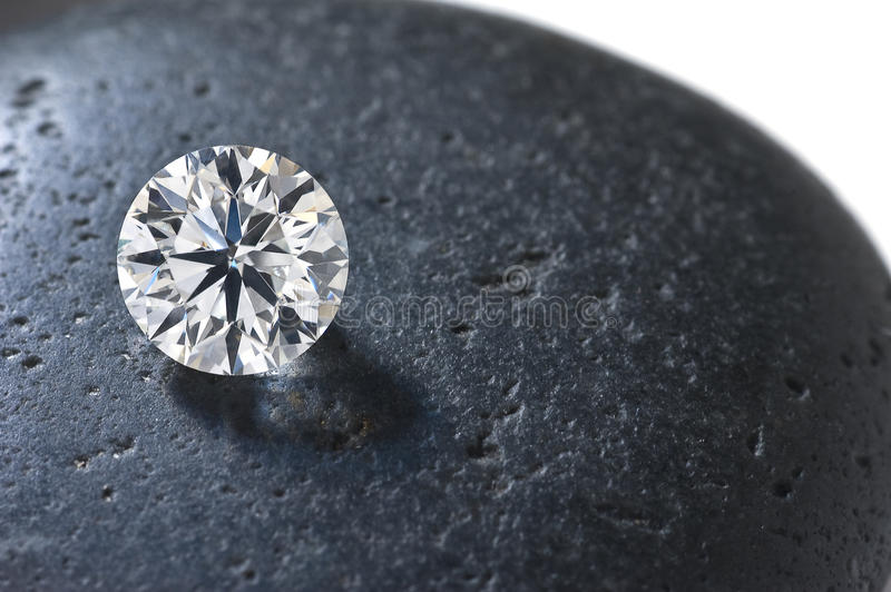 Close up of a diamond on the stone stock image