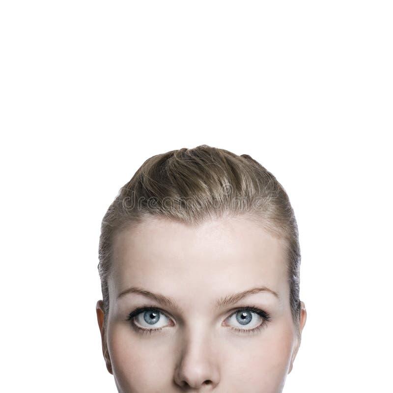 Close-up die van het bovenleer een deel van womansgezicht is ontsproten royalty-vrije stock foto's