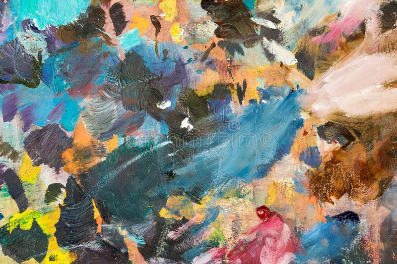 close-up of different colors with oil paint. colored acrylic. th stock image