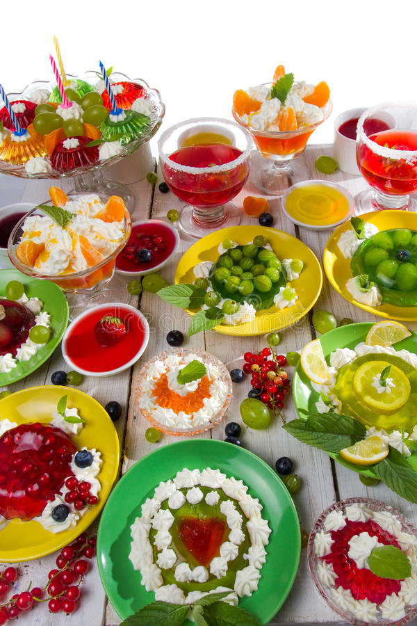 Close-up of different kinds of fruit jelly royalty free stock photo