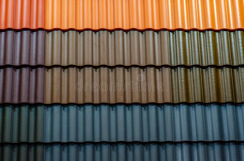 Close-up of different roof tiles stock photography