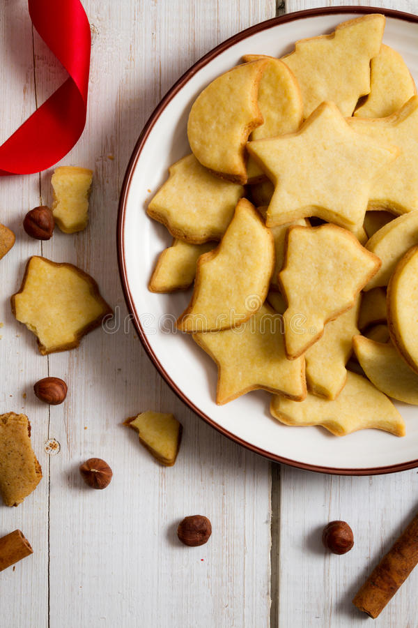 Close-up of different shapes of Christmas cookies royalty free stock image