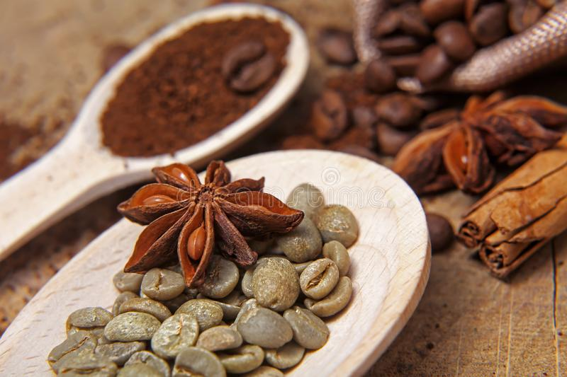 Close-up different types of coffee beans on wooden spoons, green coffee, sticks of cinnamon and anise star, macro, set royalty free stock images