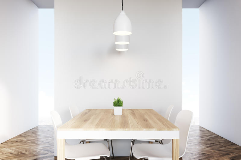Close Up Of A Dining Table In An Empty Kitchen Stock Illustration