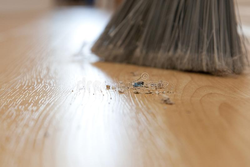 Close up dirt and broom royalty free stock image