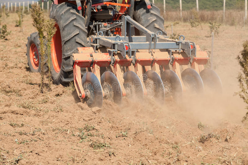 Close up of a disc harrow system, cultivate the soil. Disc harrow system, cultivate the soil stock photos