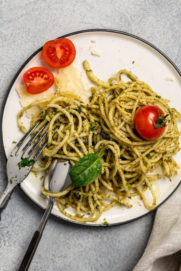 Close up dish with pasta and pesto sauce royalty free stock photos