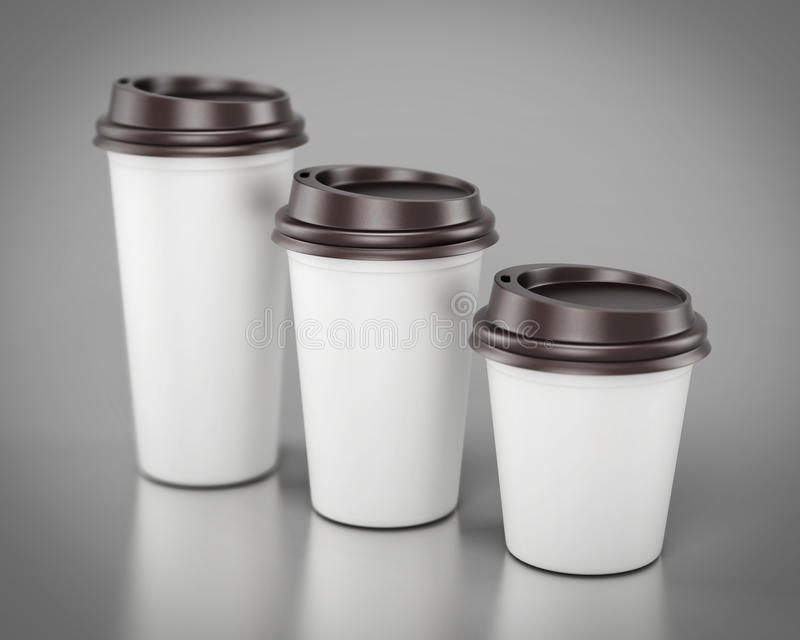 Close-up disposable plastic cups of different sizes. 3d rendering.  vector illustration