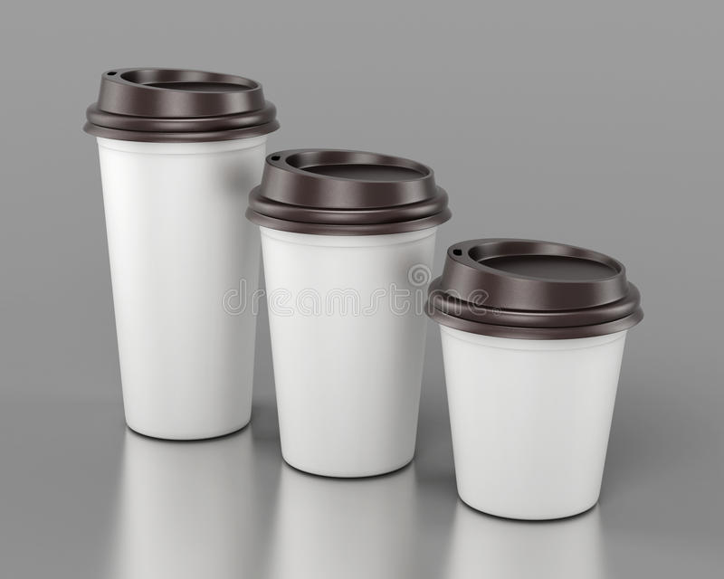 Close-up disposable plastic cups of different sizes. 3d rendering. royalty free illustration