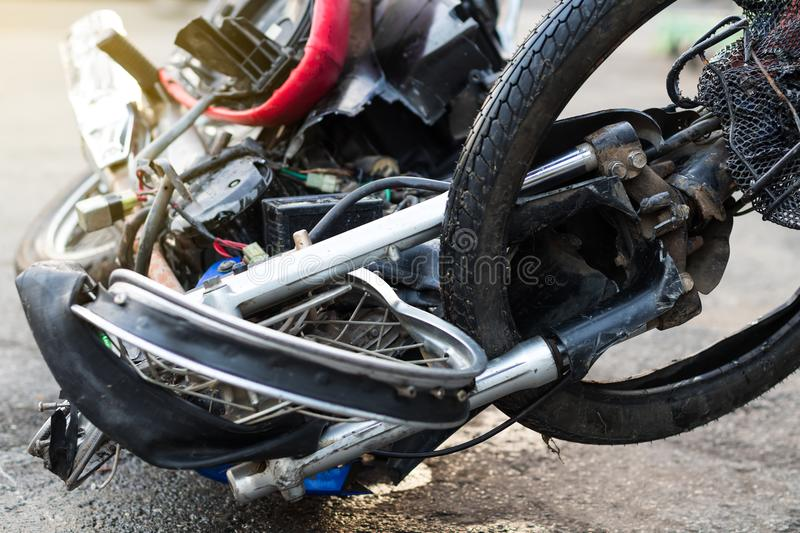 Close-up of a distorted motorcycle wheel. stock photography