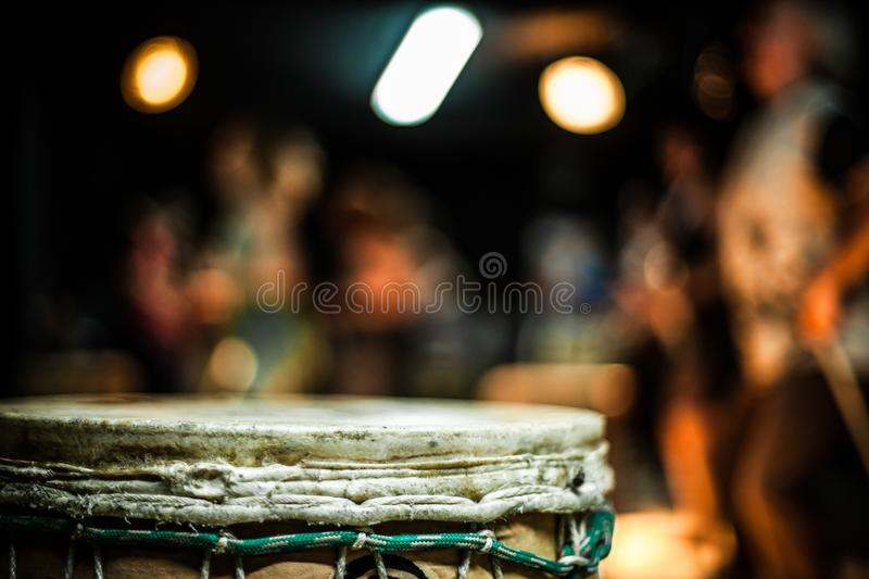 Close up of a djembe drum royalty free stock photos