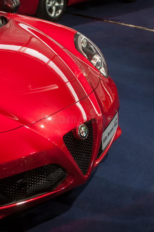 Close up do alfa romeo 4C fotografia de stock royalty free