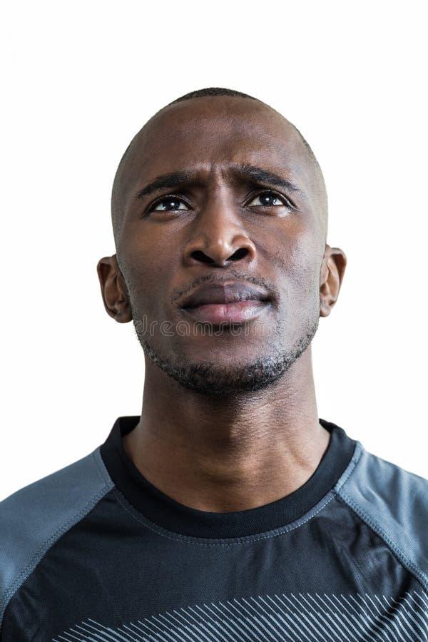 Close-up do atleta pensativo foto de stock